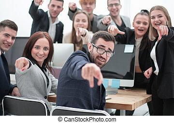 persone, gruppo, giovane, affari, indicare, lei