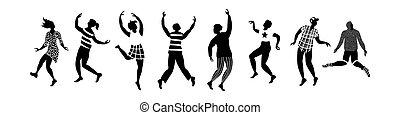 persone, horisontal, bandiera, silhouette, ballo