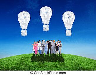 persone, immagine, composito, gruppo, lavori, sorridente, differente
