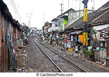 persone, indonesia., povero, bassifondi, vivente, non ...