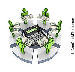 persone, intorno, grande, calculator., 3d, piccolo