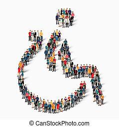 persone, invalido, vettore, gruppo, forma