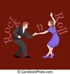 persone, isolato, possedere, ragazza, lindy, ballo, giovane, luppolo, festa, rotolo, donna ballando, coppia, roccia, uomo, ragazzo, illustrazione, formazione, vettore, altalena, divertimento, o