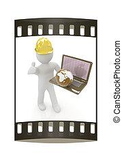 persone, laptop, -, striscia, piccolo, internazionale, 3d, earth., film, ingegnere