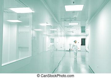 persone lavorare, moderno, fabbrica, movimento, luminoso, interno