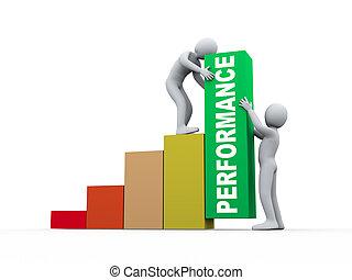 persone, lavorativo, crescita, sbarre., 3d, esecuzione