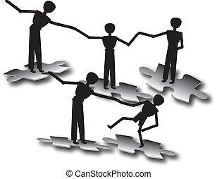persone, lavoro squadra, a, successo
