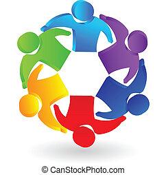 persone, lavoro squadra, logotipo, direzione, 3d