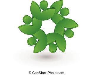 persone, lavoro squadra, salute, mette foglie, logotipo