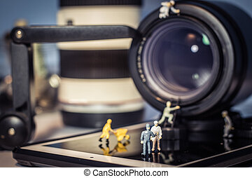 persone, lente, macchina fotografica., miniatura, controllo