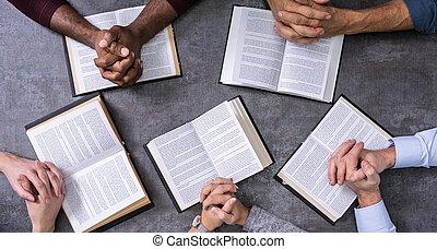 persone, lettura, elevato, libri, vista, santo