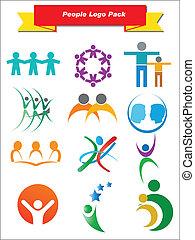 persone, logotipo, pacco