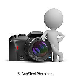 persone, -, macchina fotografica, digitale, piccolo, 3d