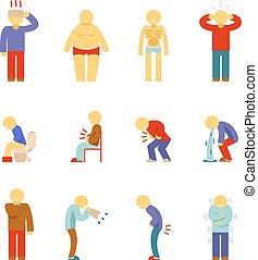 persone, malattia, icons., sintomi, pictograms, ammalato