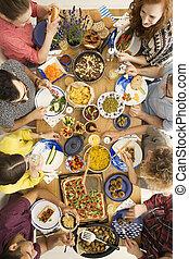 persone, mangiare, hummus, e, pizza