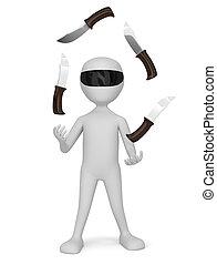 persone, -, manipolazione, piccolo, knives., 3d