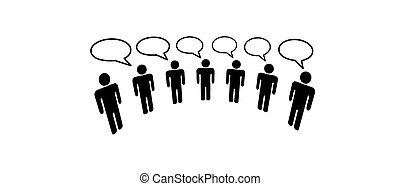 persone, media, sociale, rete, collegare, blog, simbolo