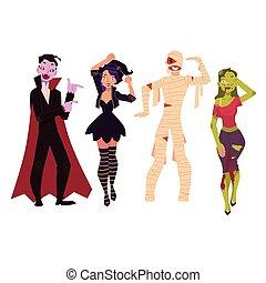 persone, mummia, zombie, -, costumi, dracula, festa, strega, halloween, vampiro