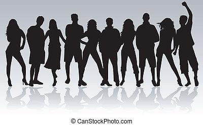 persone, nero, giovane, -, profilo