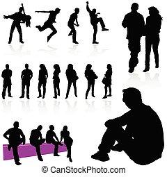 persone, nero, silhouette