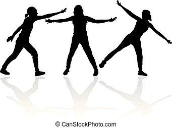 persone., nero, silhouettes., gruppo