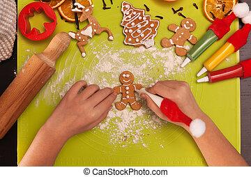persone pan zenzero, cima, bambino, -, biscotto, mani, fabbricazione, vista