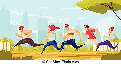 persone, parco città, correndo