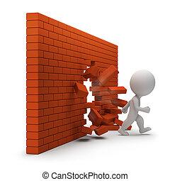 persone, parete, -, attraverso, piccolo, mattone, 3d