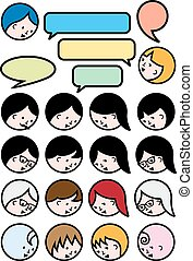 persone, parlare, vettore, set, icona