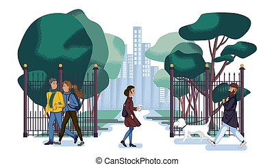 persone, passeggiata, lungo, città, parco