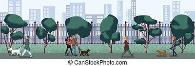 persone, passeggiata, lungo, città, park., appartamento, design.