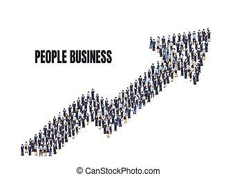 persone., persone, concetto, freccia, affari, prendere, gruppo