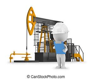 persone, -, petrolio, piccolo, ingegnere, 3d