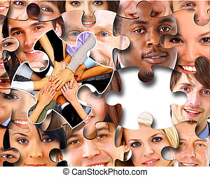 persone, pezzi, affari, puzzle, gruppo