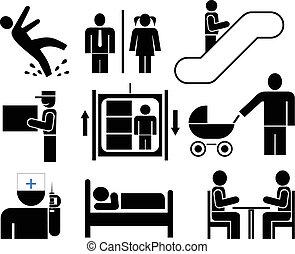 persone, pictograms, icone