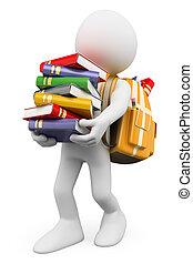 persone., portante, libri, studente, bianco, pila, 3d