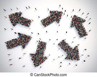 persone, possedere, scegliere, il, destra, direction., concetto, di, confusion., 3d, interpretazione