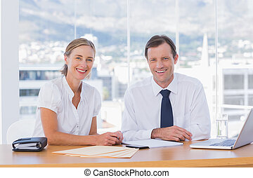 persone, proposta, affari, sorridente, insieme