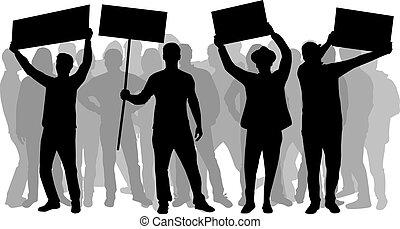persone, protestare, -, gruppo, manifestazione