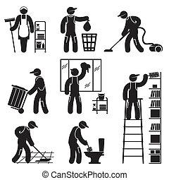 persone, pulizia, icone