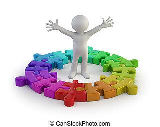 persone, puzzle, -, piccolo, anello, 3d