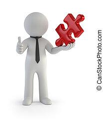 persone, puzzle, -, presa a terra, piccolo, pezzo, rosso, 3d