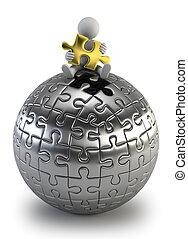 persone, puzzle, -, sfera, piccolo, 3d