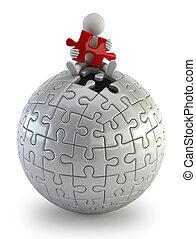 persone, puzzle, -, sfera, piccolo, rosso, 3d