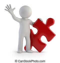 persone, puzzle, -, uno, piccolo, 3d