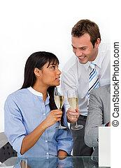persone, raggiante, tostare, affari, champagne