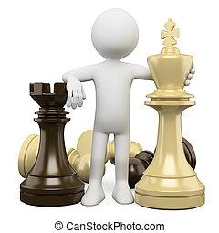 persone., scacchi, 3d, bianco