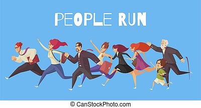 persone, sfondo blu, corsa