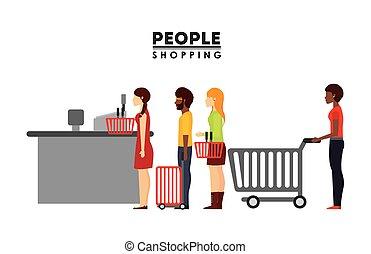 persone, shopping, disegno