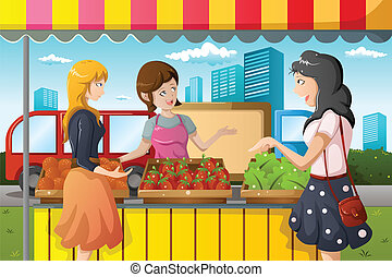 persone, shopping, mercato, coltivatori